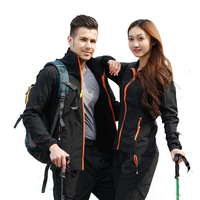 New 2017 Men Women softshell jacket coat Sets Outdoor Quick-dry UV Windbreaker men thin anti-SUN Hiking jackets jaqueta breathe