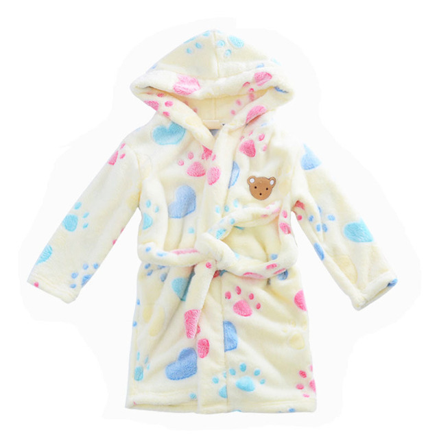 86ad62d41 Bear Footprint Winter Thermal Hooded Flannel Robe Toddler Kid ...