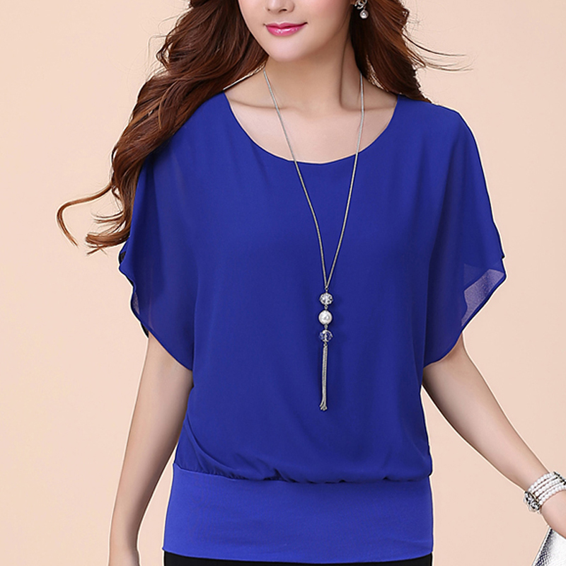 Women Tops and Blouse Butterfly Shorts Sleeve O-Neck Chiffon Blouse Loose Casual Summer Shirts Solid Blusas Clothes Plus Size 5X 2