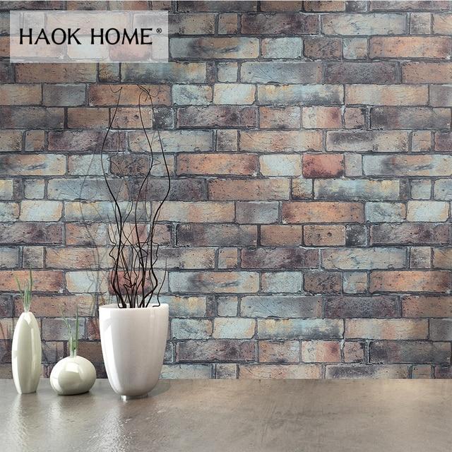 HaokHome Modern Faux Brick Wallpaper Vinyl For Walls 3d PVC Grey Textured Realistic Stone Rolls Living room Bedroom Home Decor