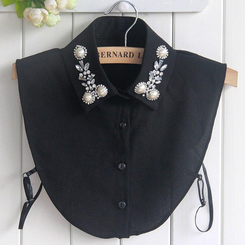 Big Pearls Womens Collar False Faux Cols Fake Collar Tie Chiffon Costume Decoration Female Crochet Detachable Collar Kraagie Nep