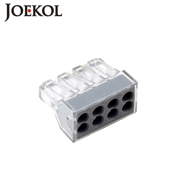 (100pcs/lot) JK-108(wago 773-108) 8P push wire wiring connectors for junction box 8pin conductor terminal block