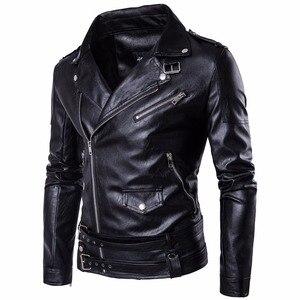Chaqueta de piel sintética para hombre, chaqueta de invierno para motociclista, chaqueta de motociclista con bolsillos múltiples, cremallera Retro punk ajustable, cinturón, chaqueta, abrigo