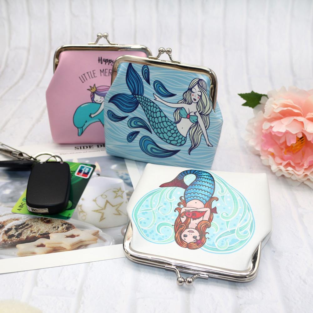 the cheapest sleek various colors US $1.64 42% OFF|Retro Cartoon Mermaid Leather Kiss Lock Coin Purse Wallet  Women porte monnaie femme small bag coin wallet small purse fashion-in Coin  ...
