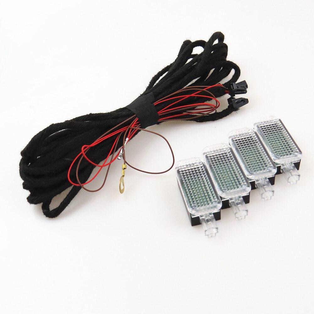 ZUCZUG LED Footwell Lumière Intérieur Pied Lampe Câble Harnais Pour VW Jetta Passat Golf Q3 Q5 Q7 A3 A4 A6 Seat Exeo Altea 3AD947409