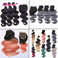 Alivera 7A Brazilian ombre body wave 3pc virgin hair bundles with lace closure Pink 1B Rose Gold/ Top Dark Grey Human Hair Weave