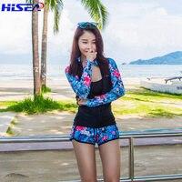 Women beach Lycra Rashguards Surf Swimsuit Quick drying Shorts Long Sleeve Elastic calico zipper Rash Guard Swimming Clothes