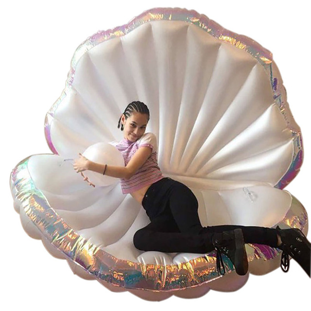 Giant Pool Float Shells Inflatable Floating Row Pearl Ball Scallop Aqua Loungers Floating Air Mattress Donuts Swim Ring,HA073