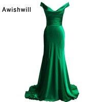 Красивый v образный вырез Ruched атласная Зеленый Mmeraid вечернее платье женские вечерние платья со шлейфом настоящая фотография платье Длинные
