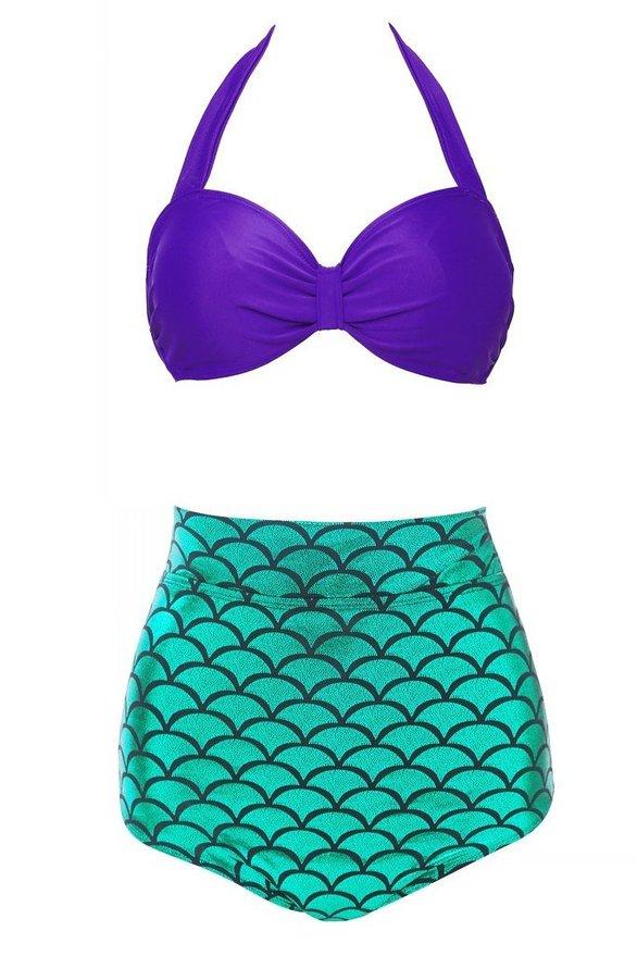 Mermaid Scales Women Bikini Set 2017 High Waist Halter Swimsuit Bathing Suit Swimwear Swimming Suit Plus Size XL M6603 pink solid color swimwear high neck halter bathing suit brazilian style beachwear xs xl plus size swimsuit strappy bikini set