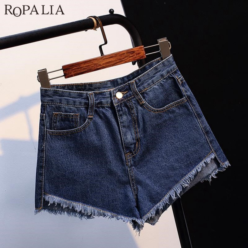 ROPALIA Vintage High Waist Crimping Denim Shorts  Rolled Denim Jeans Pockets Shorts Brand Slim Casual Female Short Jeans Mujer