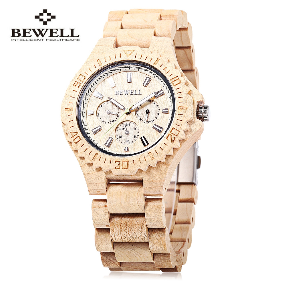 Bewell Wood Watches for Men Women Luxury Brand Quartz Clock Fashion Male Relogio Luminous Pointer Date Wooden Wristwatch As Gift new fashion wooden watches men luxury brand modern wood wristwatch quartz day date square clock male business dress watch