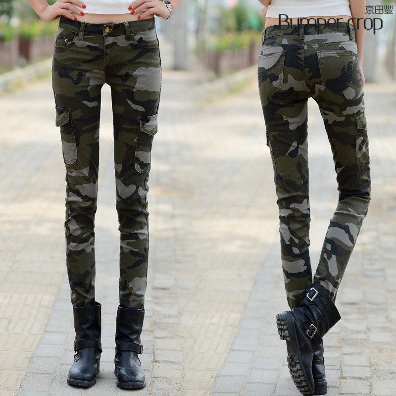 BUMPERCROP BDU Cambric pants armer trousers womn Military Full Length skinny denim pencil Camouflage Camo classcal