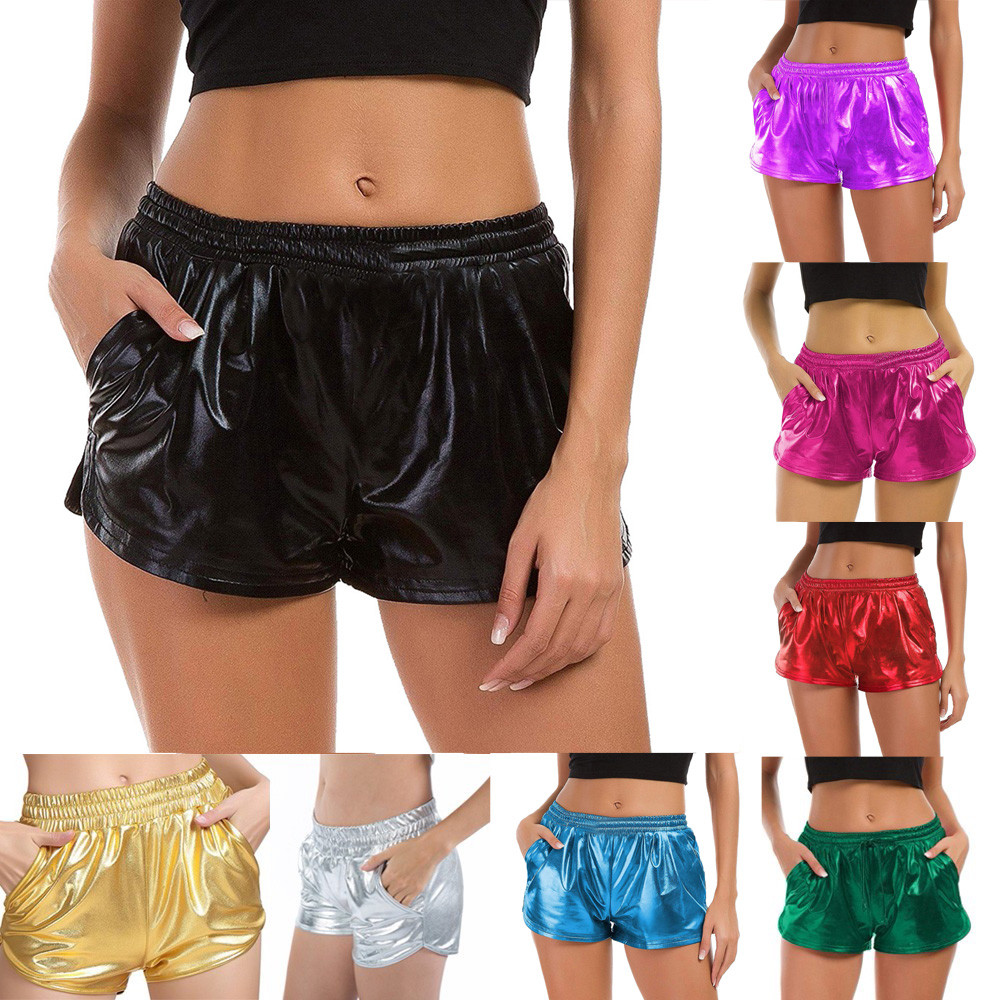 Womail Women Short summer Fashion High Waist Sport Shorts Shiny Metallic short Casual Daily Lady dropship j16