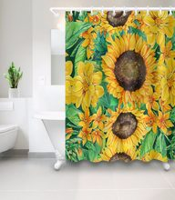 Vintage Spring Sunny Day Blooming Sunflowers Bathroom Shower Curtain Waterproof Polyester Fabric 12 Hooks