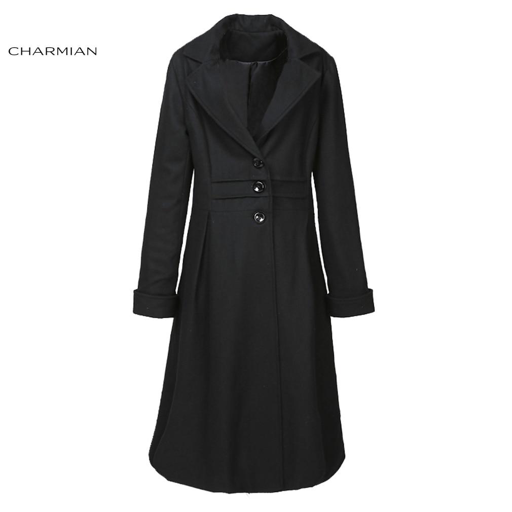 Women Woolen Coat Leisure Womens Woolen Coat Hooded Fur Collar Winter Medium Long S XL