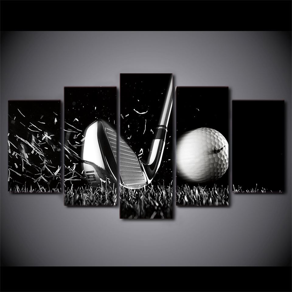 Canvas Paintings HD Printed 5 Pieces Modular Golf Sports black and white Wall Art Canvas Poster For Living Room Home Decor