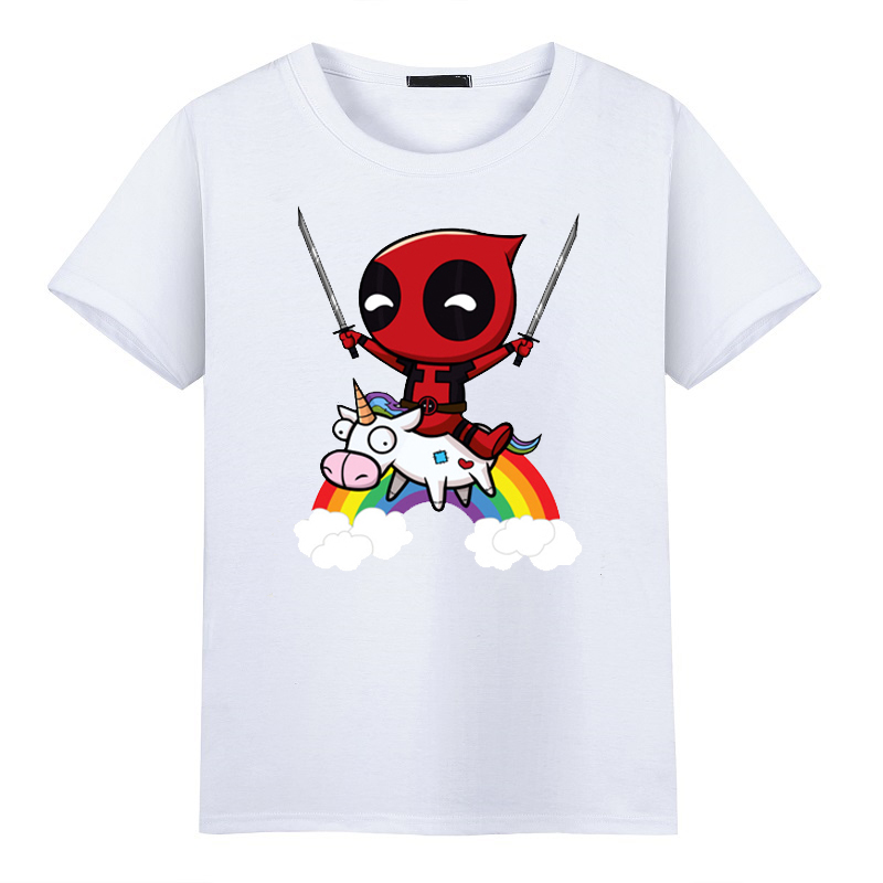 2017 Fashion Men T shirt for Funny Cute Deadpool Minion Riding A Unicorn Rainbow Printed Cosplay O-Neck Short Sleeve T-shirts