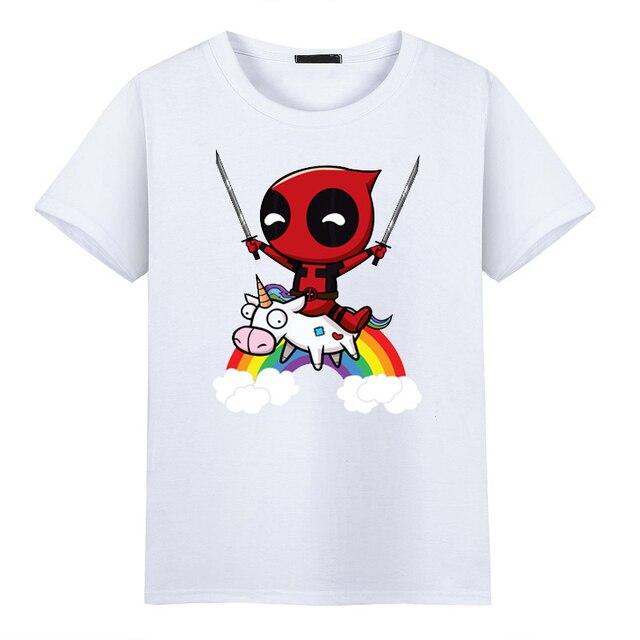 ff7538112313 2017 mode für Männer t-shirt für Lustige Nette Deadpool Minion Reiten Ein  Einhorn Regenbogen