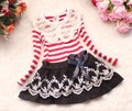 2015 new retail free shipping new fashion children clothing for baby kids/girl flower lace bowknot princess long sleeve dress