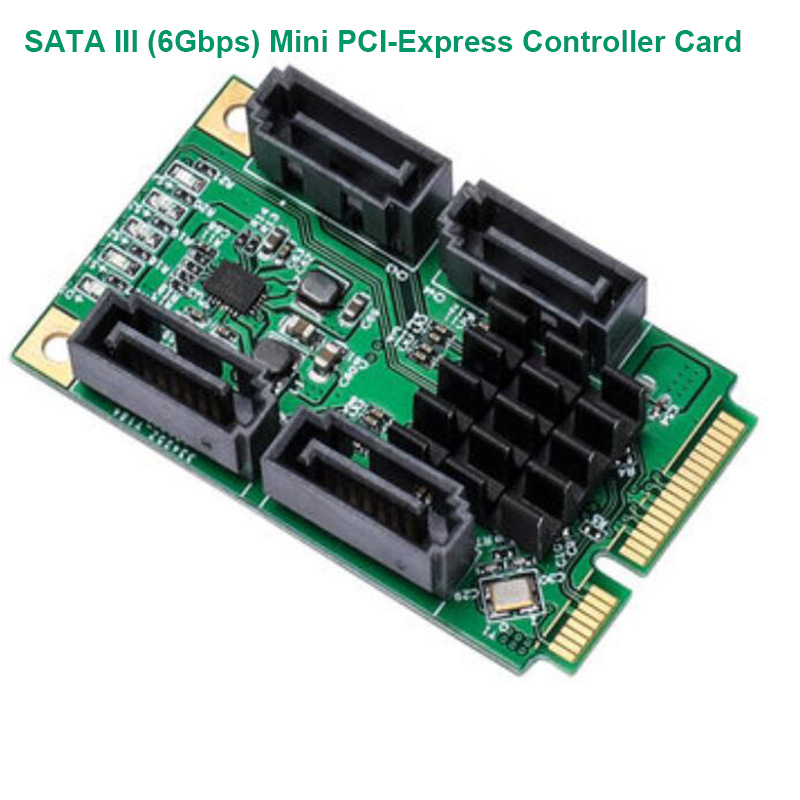 4 Port SATA III 6Gbps/s Mini PCI-e Controler Card Marvel 88SE9215/SATA3.0 Interface Extension Support NCQ/MSI/Port Multiplier