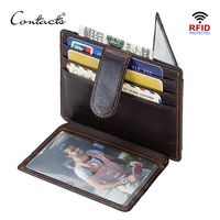 CONTACT S Crazy Horse Genuine Leather Small Card Wallets For Men RFID ID Card Holder Mini