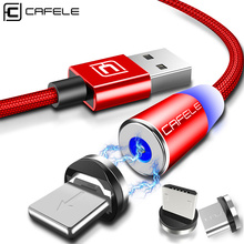 CAFELE Magnetic USB Cable 100cm Micro Type C for iphone Samsung Huawei Xiaomi  Nylon Wire with LED Light