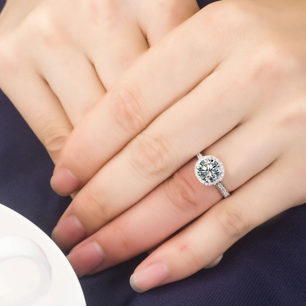 10 Carat Wholesale Engagement Rings Sterling Silver 925 Platinum Plated  Round Cut Wedding Synthetic Diamond Rings