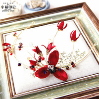 Retro coroa coroa noiva vermelho escuro vestido de fita do casamento de cristal cabelo da flor cocar acessórios vestido