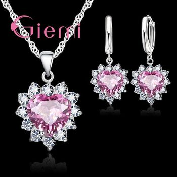 Love Heart Crystal Pendant 925 Sterling Silver  Party Jewelry Sets Necklace Earrings For Women Valentine Gifts 925 silver jewelry white australian crystal jewelry sets for women wedding bracelets necklace pendant earrings ring