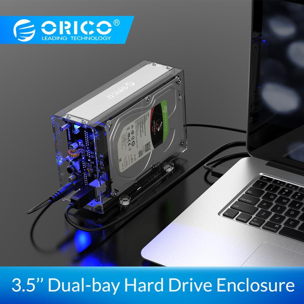 Boîtier de disque dur ORICO 3.5 pouces 2 baies boîtier de disque dur externe Transparent SATA vers USB3.0 boîtier de disque dur type-b avec adaptateur secteur 12V3A