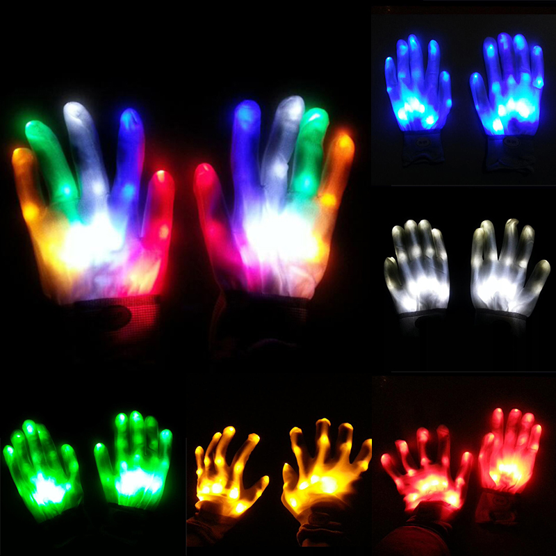 1pcs Colorful Flashing Gloves Mittens LED Finger Light Festival Decor Party Bar Drop Shopping
