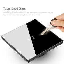 Waterproof 1/2/3 Gang LED light Touch Switch 220V EU/UK Standard Sensor Wall lamp Switch Tempered Glass Panel Module