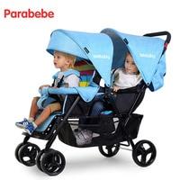 Близнецы легкий двойной коляски детская коляска для двойни коляски для новорожденных милый Божья коровка двойное сиденье ребенка Багги ко
