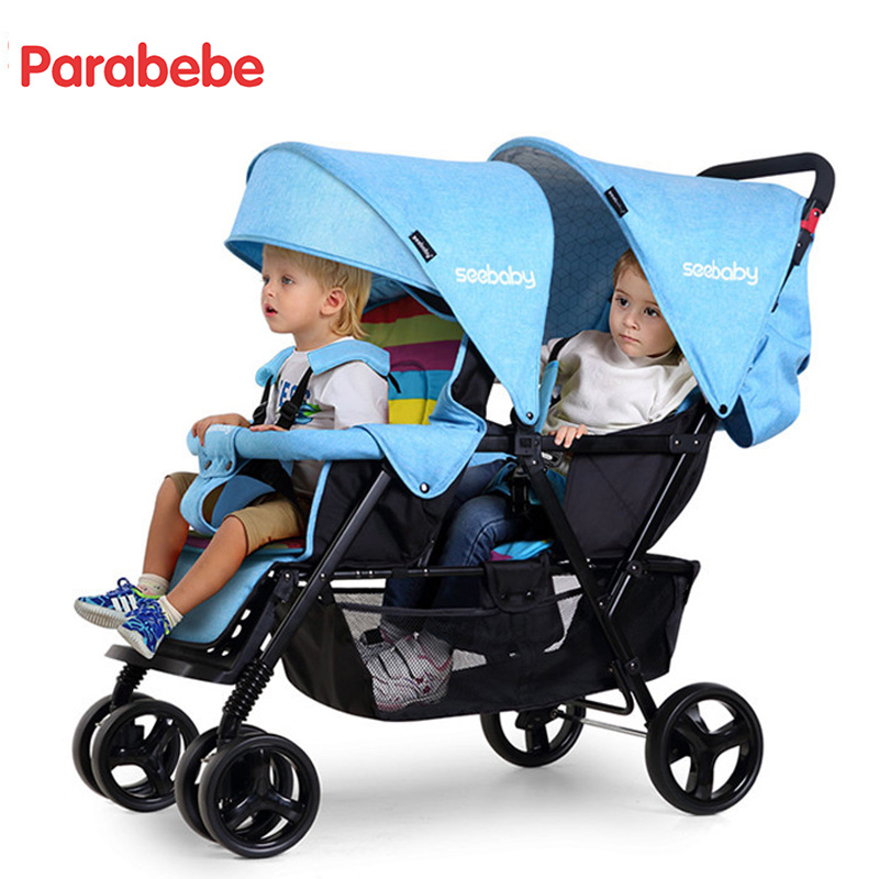 Twins Lightweight Double Strollers Baby Carriage For Twins Prams For Newborns Cute Ladybug double seat baby buggy cart 4 gifts bello outdoor double twins stroller foldable light baby carriage prams buggy with rain cover
