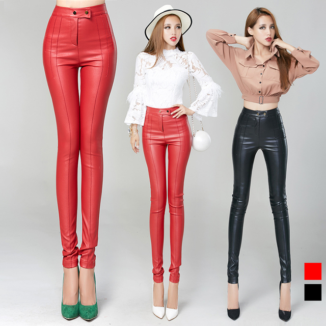 Aliexpress.com : Buy pu leather trousers red women 2015 2 buckles ...