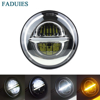 FADUIES 1PSC Chrome 5.75 5 3/4 LED Headlight Motorcycle Daymaker Projector for Harley Sportster Custom Harley Motorcycle Light