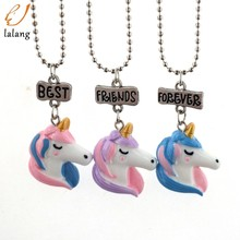 2018 Hot Pop Children's Jewelry Best Friend Forever Necklace Unicorn BFF Pendant Necklace For Friends Kids Chain Necklace 1 Set(China)