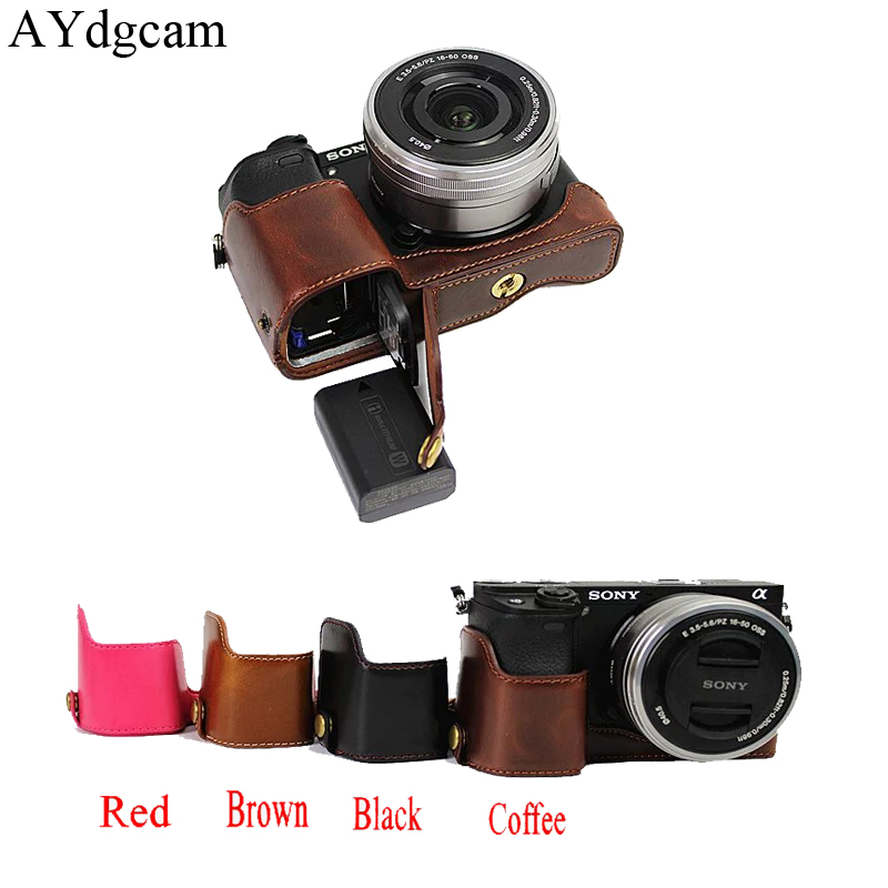 PU leather Half Body For Sony A5000 A5100 Video Camera Case Bag Camera Protective Cover Bottom Pouch