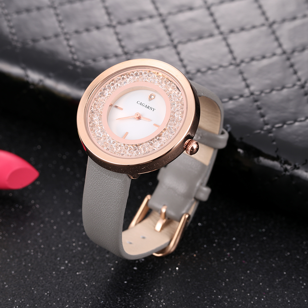 luxury brand quartz watch for women fashion ladies wristwatches rose gold case vogue leather strap with crystal free shipping (16)
