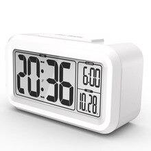 스마트 학생 알람 시계 lcd 라이트 스누즈 기능성 데스크탑 시계 키즈 테이블 시계, 침실 잘 읽을 수있는 밤