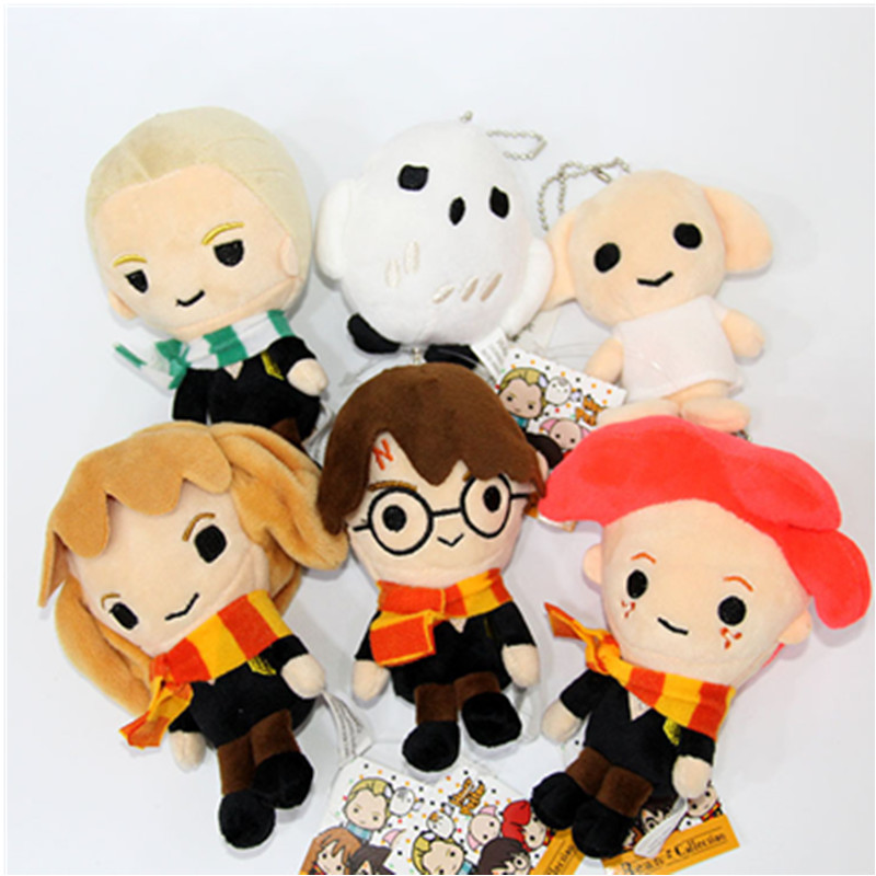 14cm Movie Plush Toys Doll Q Version Harry Malfoy Ron Weasley Hermione Dobby Owl Hedwig Keychain Plush Stuffed Toy