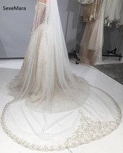 Luxury Crystal One Layer Long Bridal Veils Cathedral Length 3M Lace Applique Ivory Wedding Veil With Comb Champagne