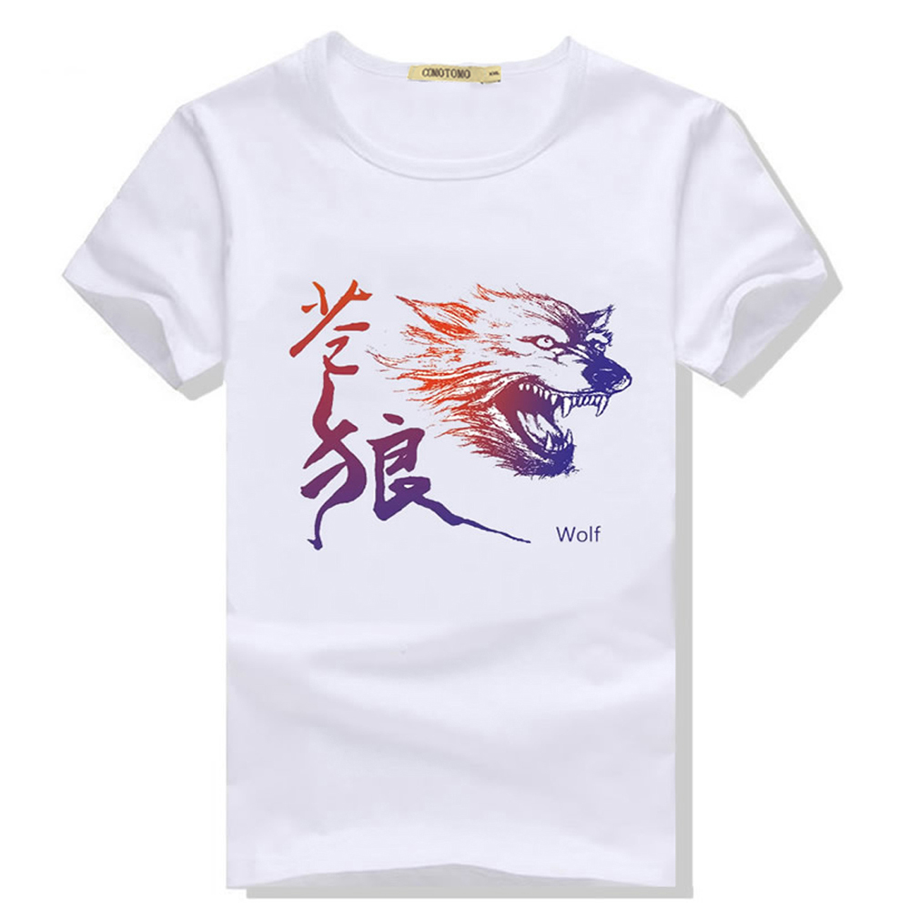 Tshirt animal print wolf t shirt men anime mens t shirts for Print one t shirt