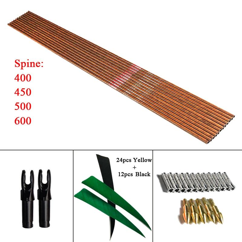 12pcs 32 Wood Skin Spine 600 Pure Carbon Arrow Shafts 12pcs Inserts 95gr Point 5 Turkey