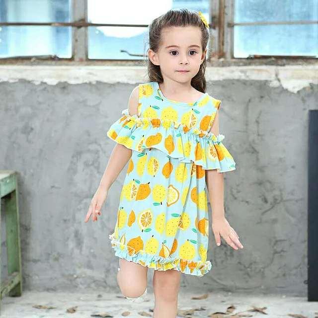 18b2860874 Summer Baby Girls Dress Children Kids Tassel Ruffles orange pear lemon  Fruit Printed Princess Falling Sleeves Girl Tutu Dresses