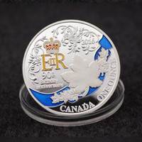 1 pcs The newest Queen Elizabeth 90th birthday coins silver plated colored 40 mm badge home souvenir collectible decoration coin