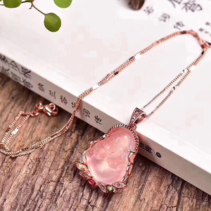 Image 2 - Dropshipping Natural Pink Crystal Laughing Buddha Pendant Mosaic Clavicle Chain Necklace Simple Female models Fashion Jewelry