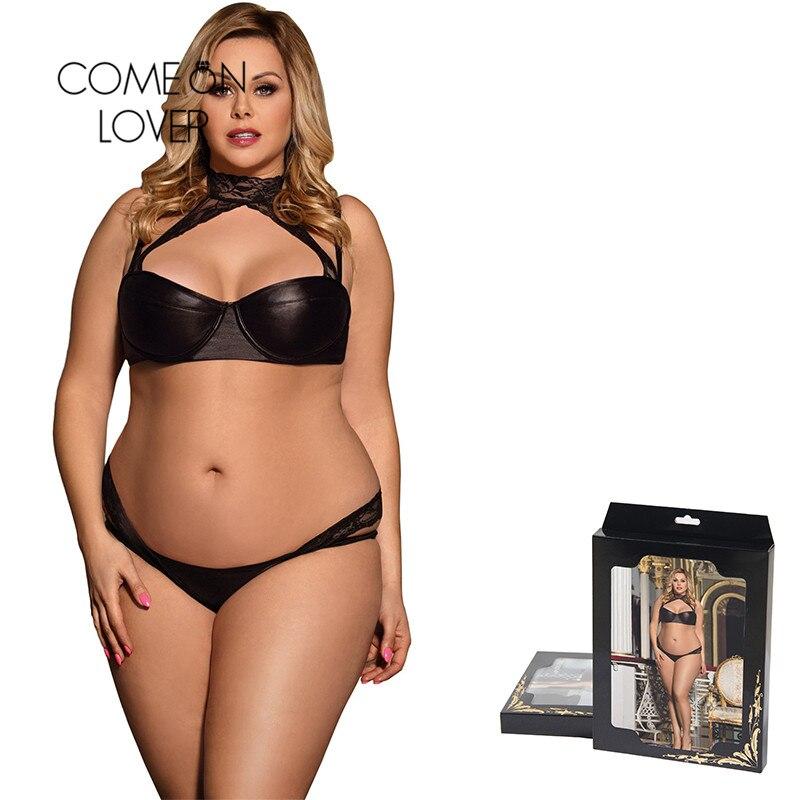 Buy Comeonlover Sexy Women Lingerie Sets Vinyl Faux Leather Halter Push Lace Bra Panties Big Size Bra Sets Lingerie RI80433