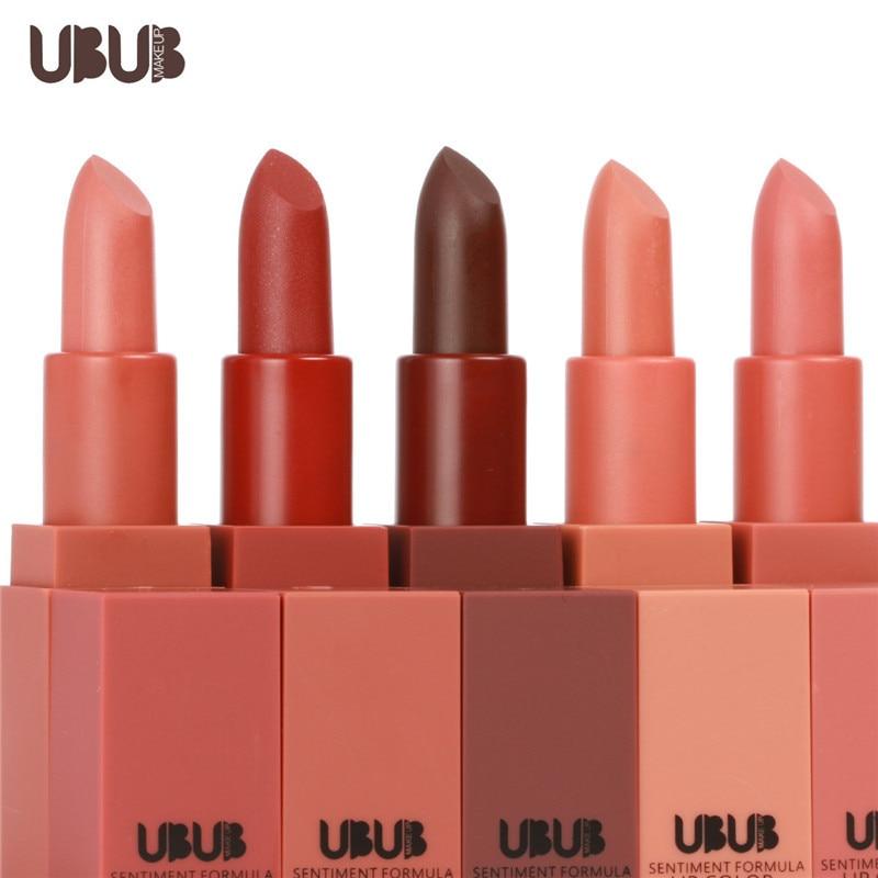 Flight Tracker Ubub Makeup Moisture Lipstick 5 Colors Nude Matte Lipstick Waterproof Baby Lips Orange Dark Red Lip Cream For Women Hf016 Demand Exceeding Supply Beauty & Health Beauty Essentials